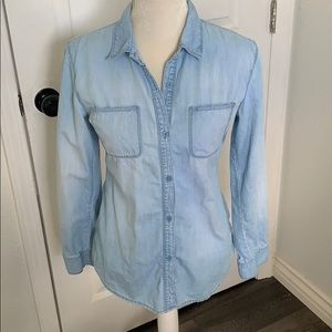 denim chambray button up shirt crochet back